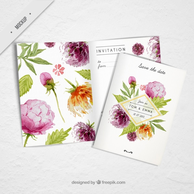 Wedding invitation with cute watercolor flowers Free Psd