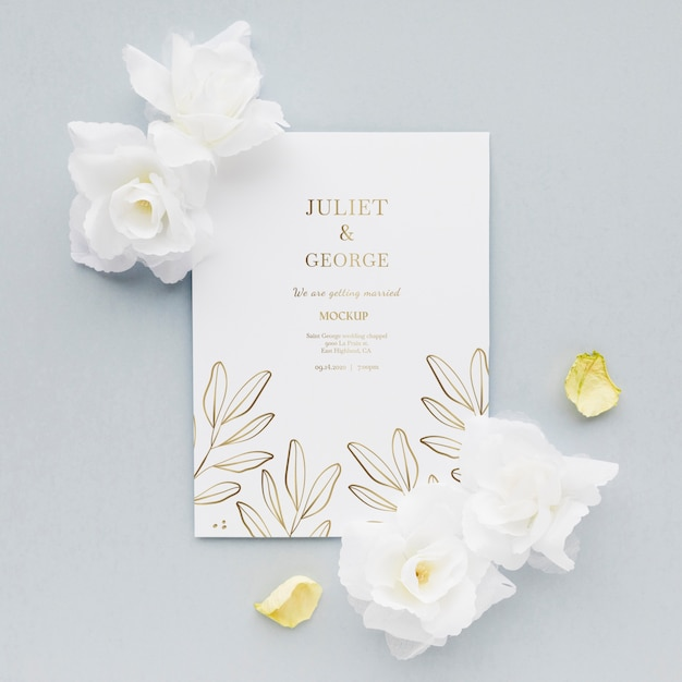 Wedding invitation with flowers Free Psd