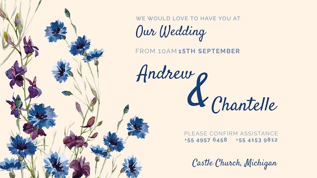Wedding invitation with purple and blue flowers Free Psd
