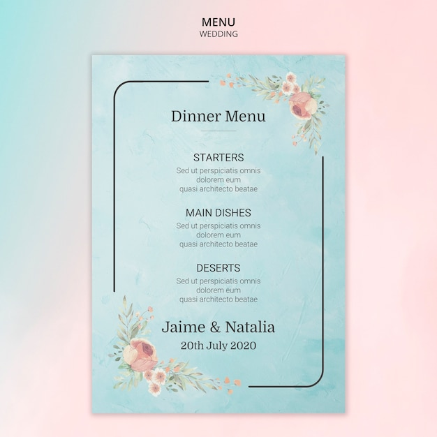 Wedding menu card with flowers Free Psd