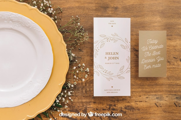 Wedding menu mockup Free Psd