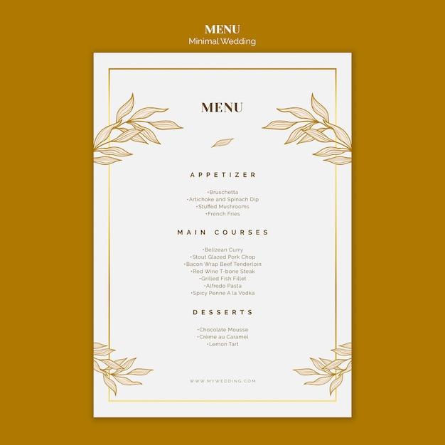Шаблон свадебного меню Premium Psd