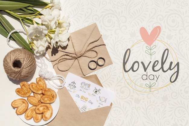 Wedding paper envelope arrangement with lettering Free Psd