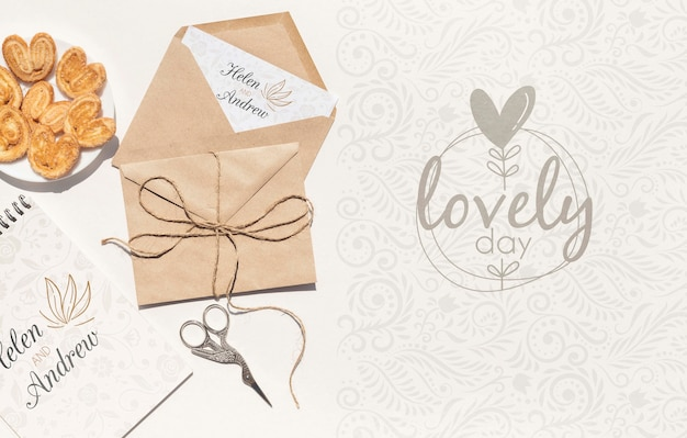 Wedding paper envelope with cookies Free Psd