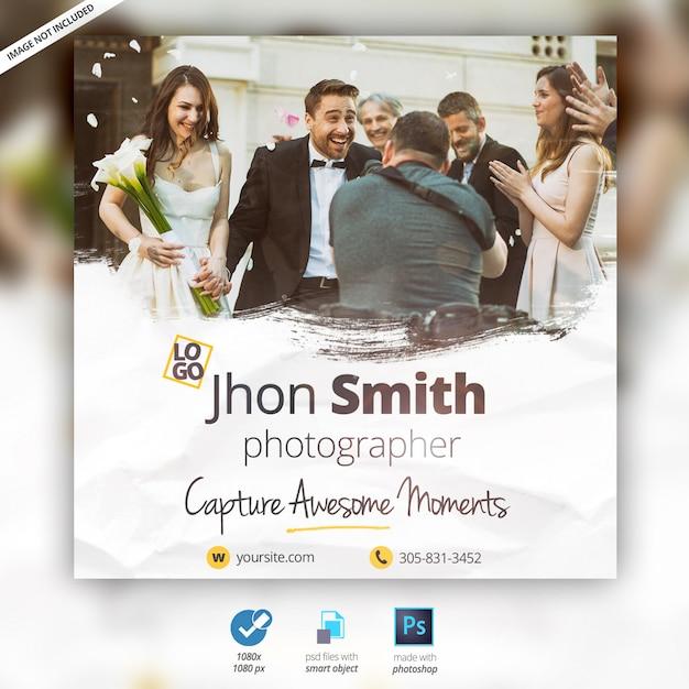 Wedding photographer banner ad Premium Psd