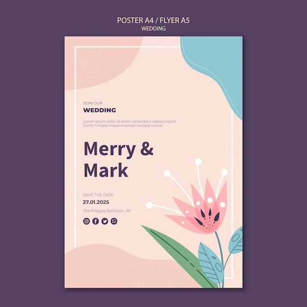 Wedding poster template Free Psd