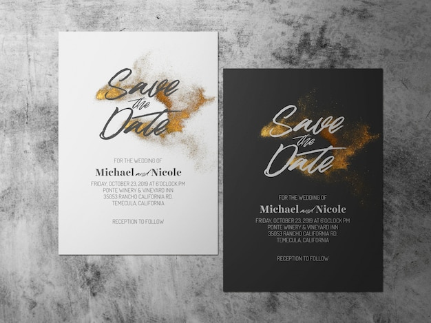 Wedding save the date, one faced gold black white theme card Premium Psd