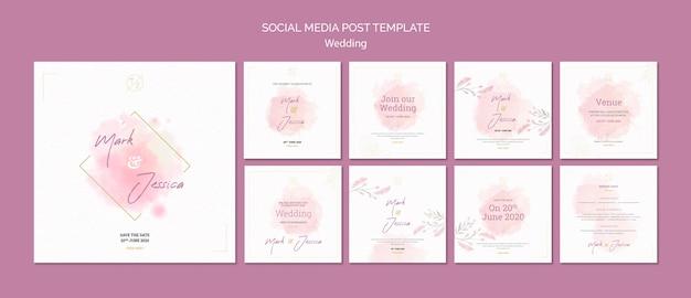 Wedding social media post template mock-up Free Psd