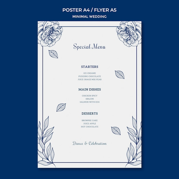 Wedding template for poster Free Psd