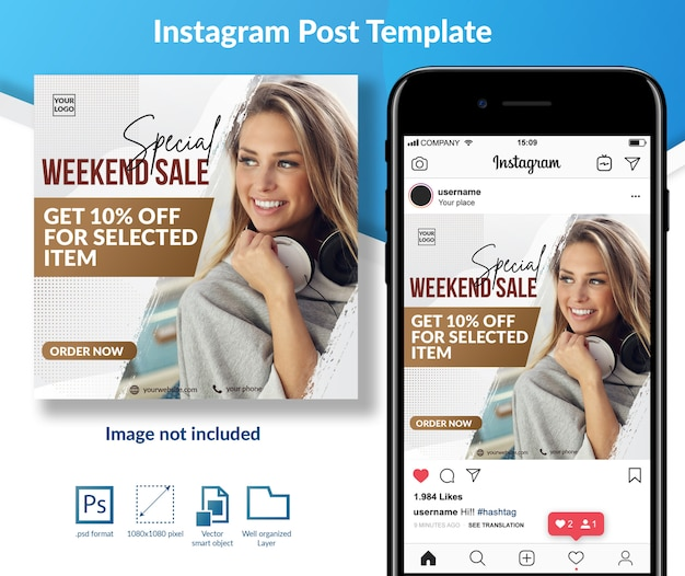 Weekend sale offer social media post template Premium Psd