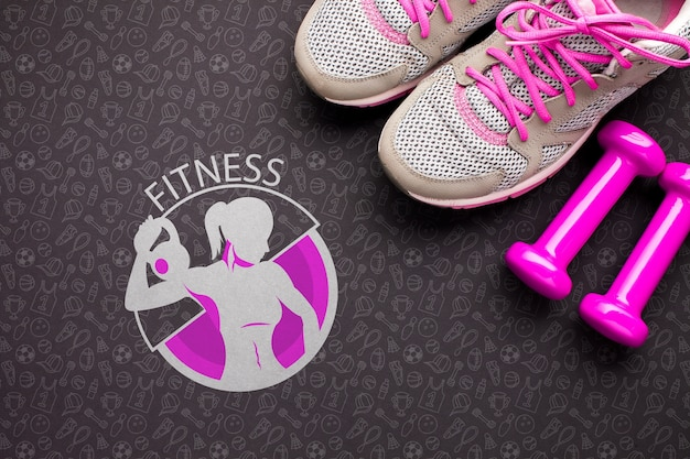 Weights and shoes for fitness class Free Psd