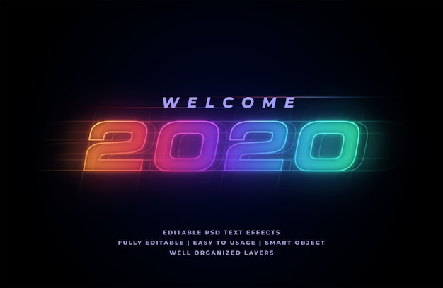 Welcome 2020 text style effect Premium Psd