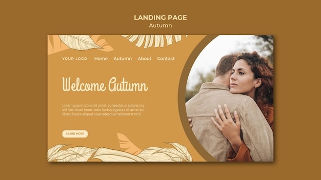 Welcome autumn couple hugging landing page Free Psd