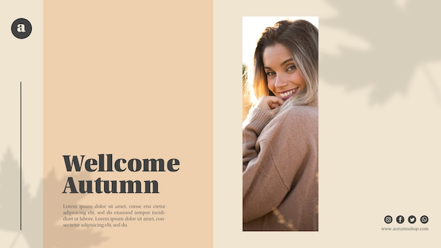 Welcome autumn web template with smiley woman Free Psd