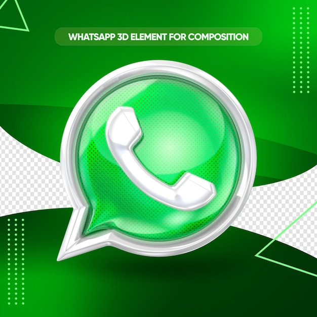 Whatsapp icon 3d front view for composition Premium Psd