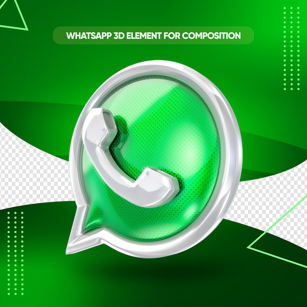 Whatsapp icon 3d render for composition Premium Psd
