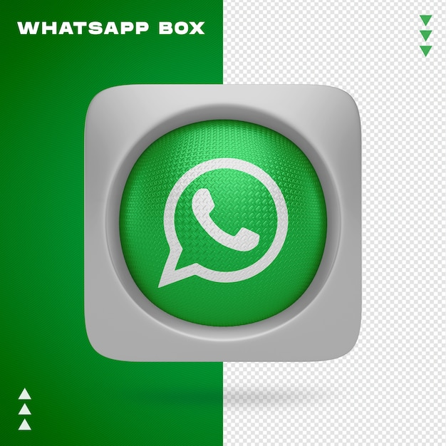 Whatsapp icon in box in 3d rendering isolated Premium Psd