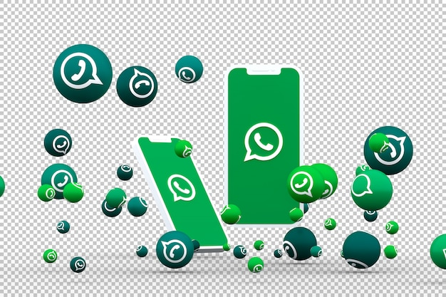 Whatsapp icon on screen smartphone or mobile and whatsapp reactions call with isolated background Premium Psd