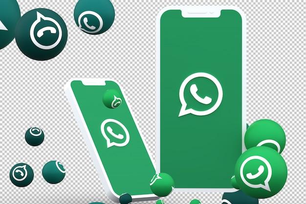 Whatsapp icon on screen smartphones and whatsapp reactions Premium Psd