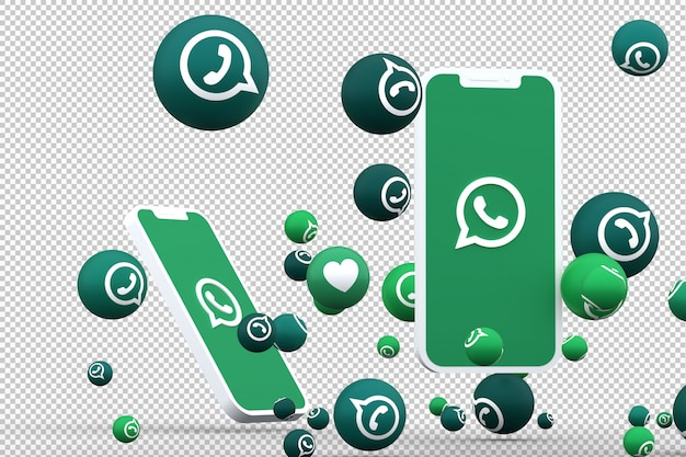 Whatsapp icon on screen smartphones and whatsapp reactions Premium Psd