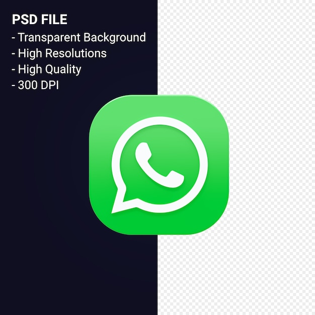 Whatsapp logo 3d rendering isolated Premium Psd