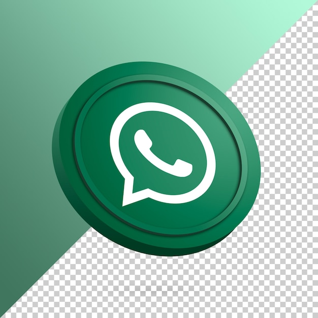 Whatsapp logo on the round button 3d rendering isolated Premium Psd