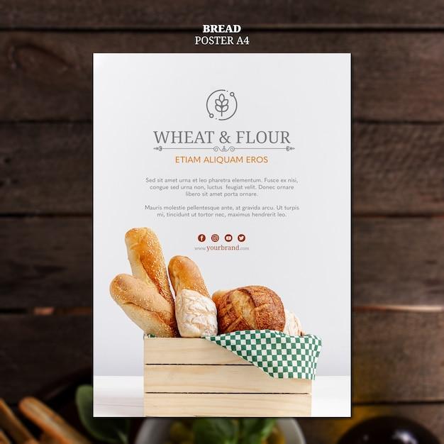 小麦と小麦粉のパンのポスターデザイン 無料 Psd