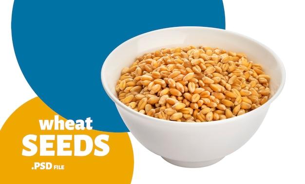 白で隔離されるボウルに小麦の種子 Premium Psd