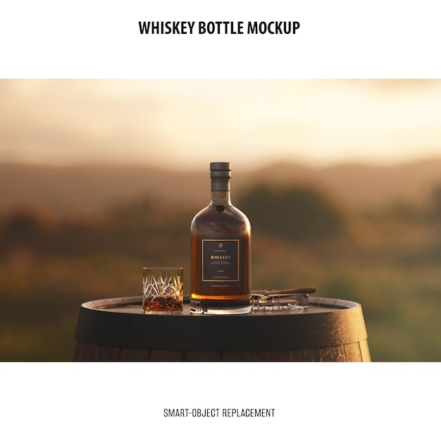 Whiskey bottle mockup Free Psd