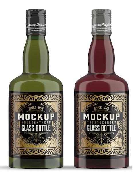 分離されたウイスキーガラス瓶モックアップ Premium Psd
