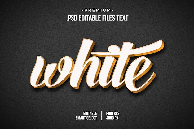 White 3d text effect, 3d white text style effect, 3d white golden text effect using layer styles Premium Psd