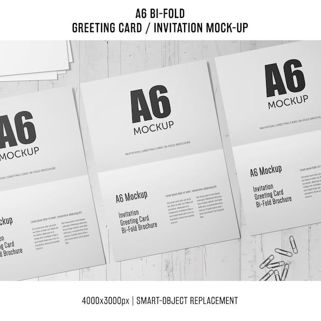 White A6 Bi Fold Invitation Card Mockup Free Psd