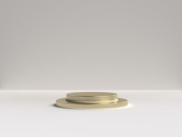 Белый и золотой 3d-рендеринг абстрактной сцены геометрической формы подиума для демонстрации продукта Premium Psd