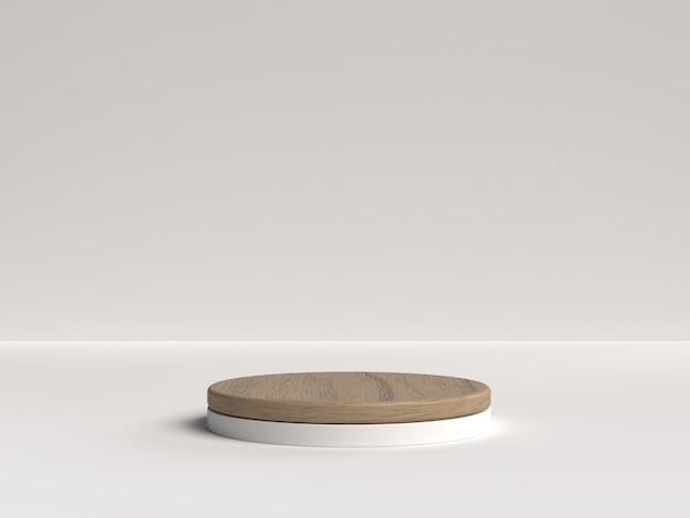 Белый и деревянный 3d-рендеринг абстрактной сцены геометрической формы подиума для демонстрации продукта Premium Psd