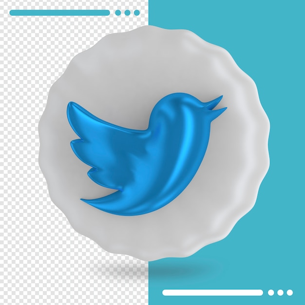 White balloon and logo of twitter 3d rendering Premium Psd