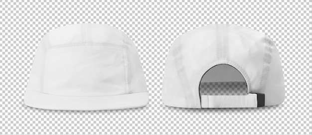 White baseball cap mockup front and back view, template Premium Psd