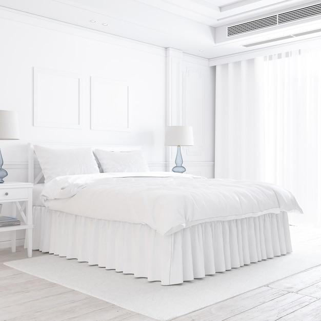 装飾的な要素を持つ白い寝室のモックアップ 無料 Psd