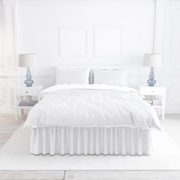 Белая спальня макет с декоративными элементами Бесплатные Psd