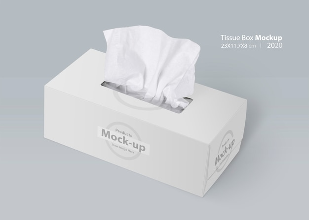 White blank tissue box on gray background with facial tissue Premium Psd
