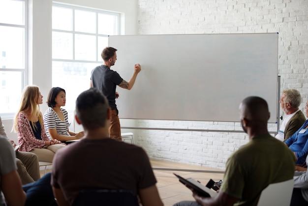 White board networking seminar concept Free Psd