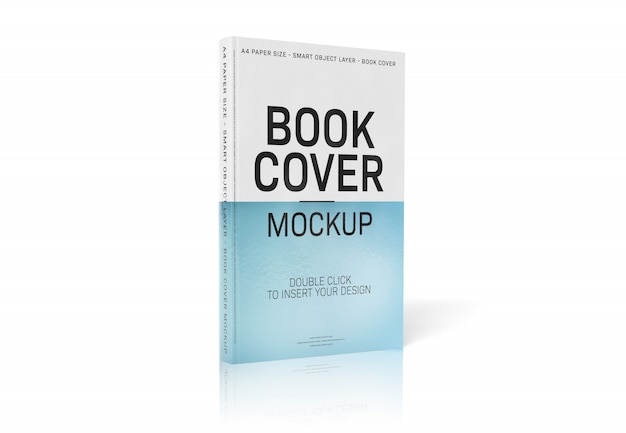 White book standing on white surface mockup Premium Psd