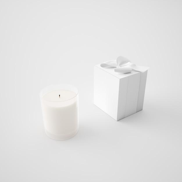 ホワイトボックスとキャンドル 無料 Psd
