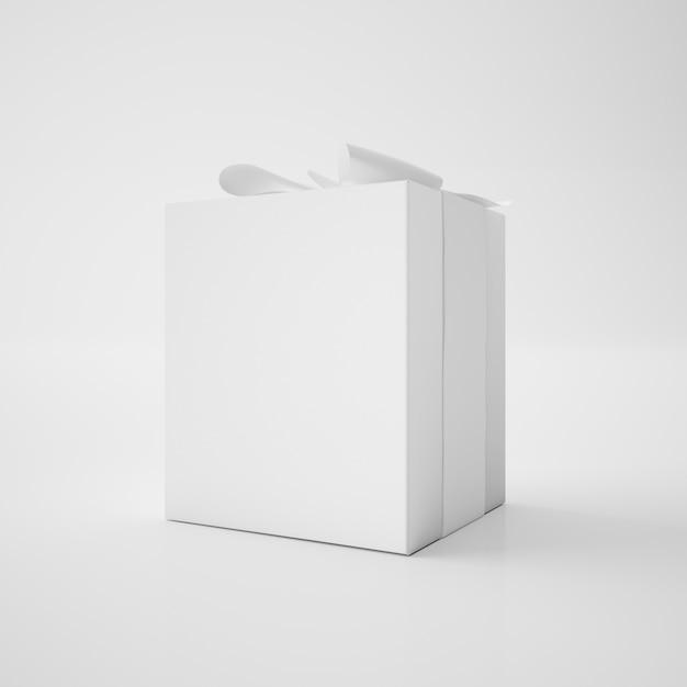 Белая коробка с лентой Бесплатные Psd