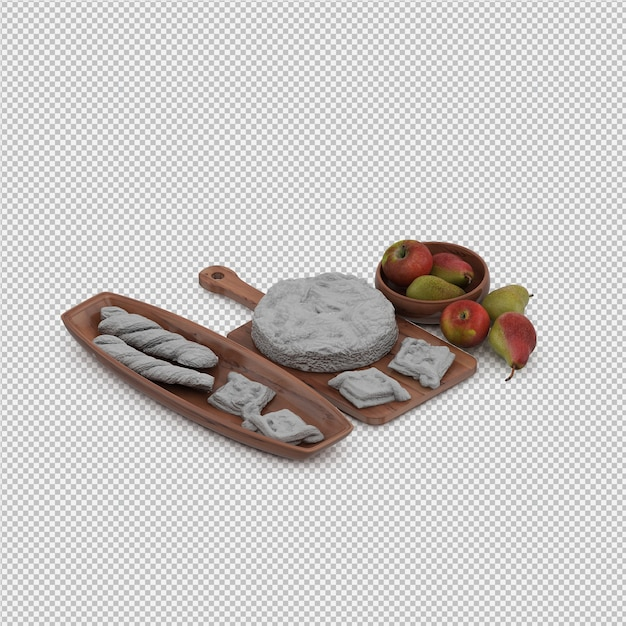 White bread and pears 3d render Premium Psd