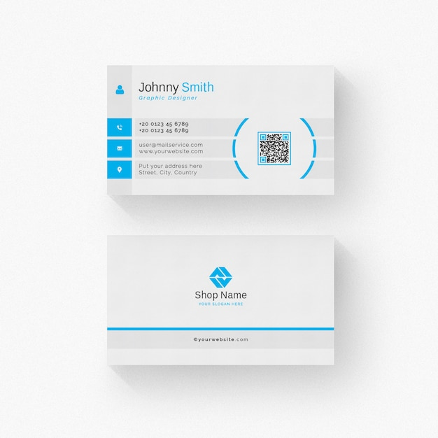 White business card with blue details Premium Psd