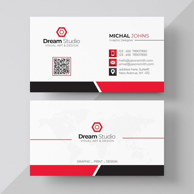 White business card with red details Free Psd