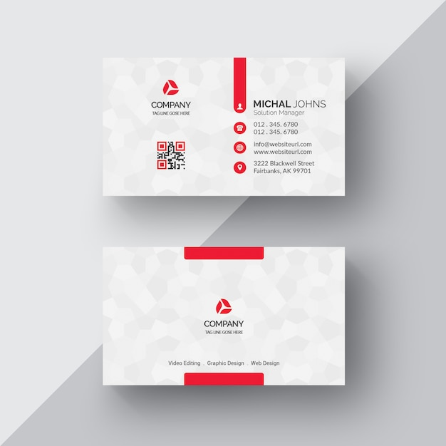 business card presentation template psd - white business card with red details psd file free download