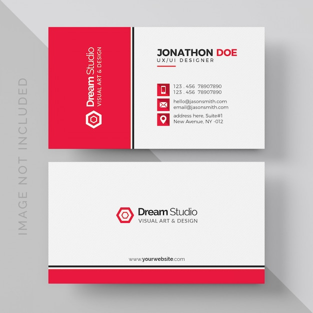 White business card with red details Premium Psd
