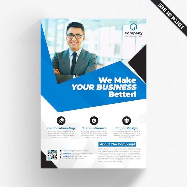 White business flyer with blue details Premium Psd