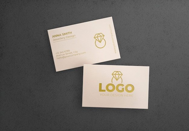 White bussiness card on black background Free Psd